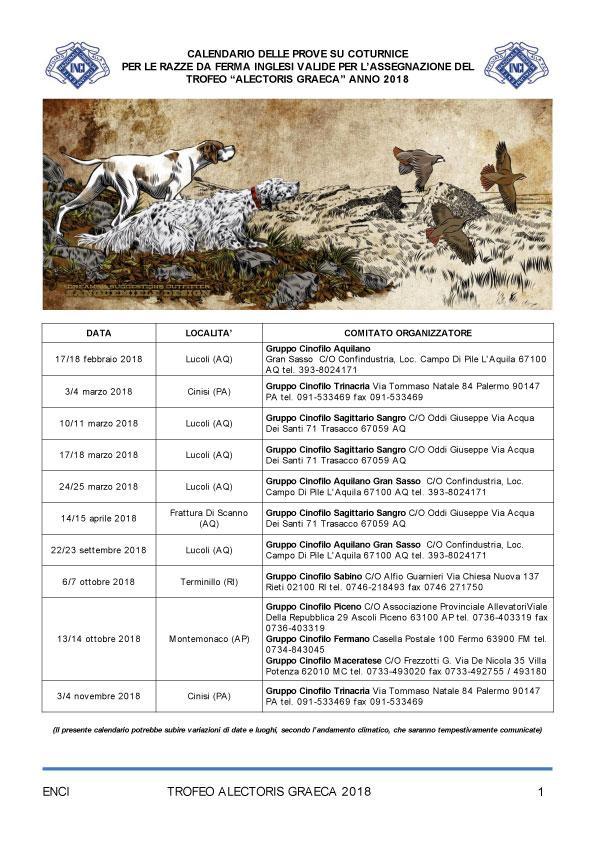 Enci Calendario Prove.Trofeo Alectoris Graeca 2018 Calendario Prove E